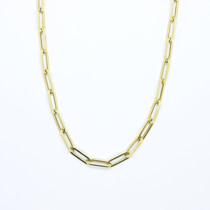 "Yellow Gold Paperclip Chain Necklace (18"")"