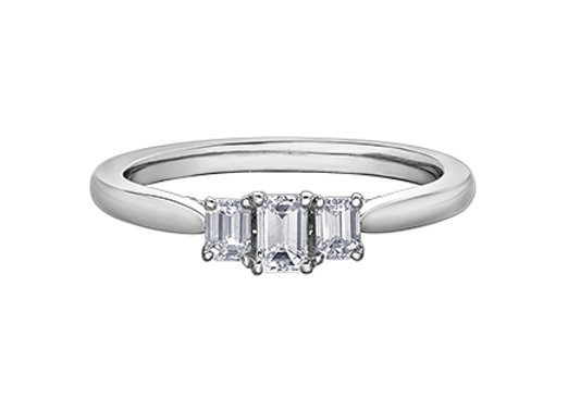 Emerald Cut Trinity Style Engagement Ring