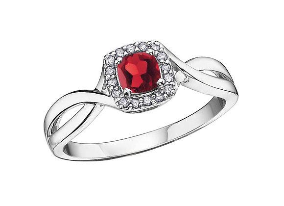 Ruby Cushion Ring with Diamond Halo
