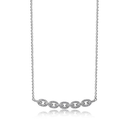Silver CZ Chain Necklace