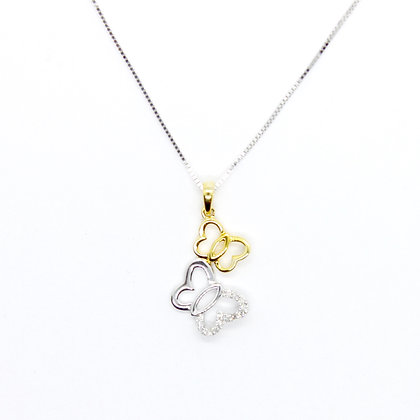 Yellow & White Gold Double Butterfly Pendant