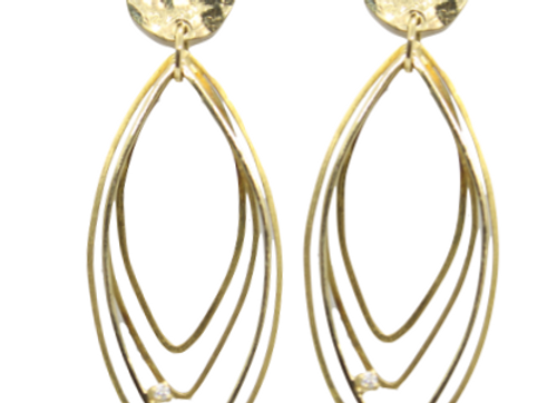 Yellow Gold Layered Oval Drop Earrings