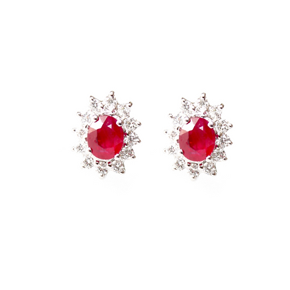 Oval Ruby Earrings with Starburst Diamond Halo