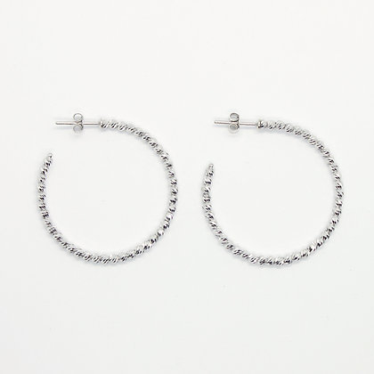 White Gold Textured Bead Hoops (35mm)
