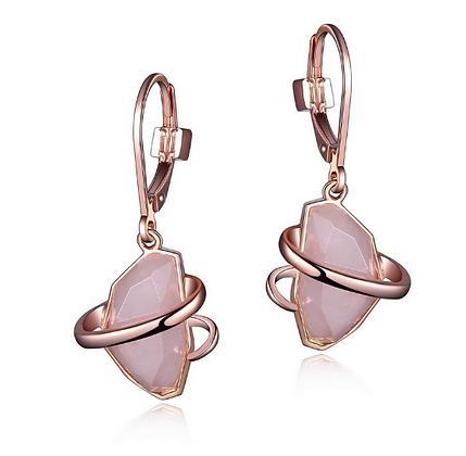 Rose Gold Plated Rose Quartz Drop Earrings