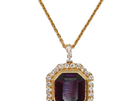 Emerald Cut Garnet & Diamond Halo Pendant