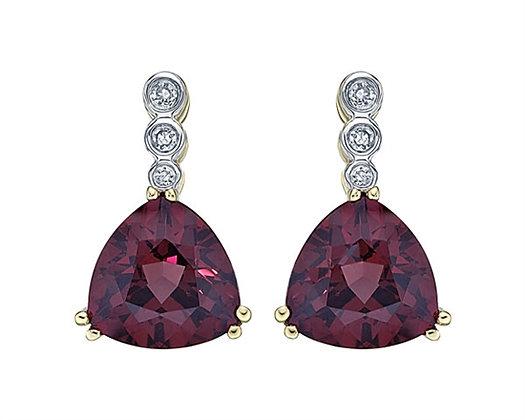 Trillion Cut Rhodolite Garnet Earrings with Diamond