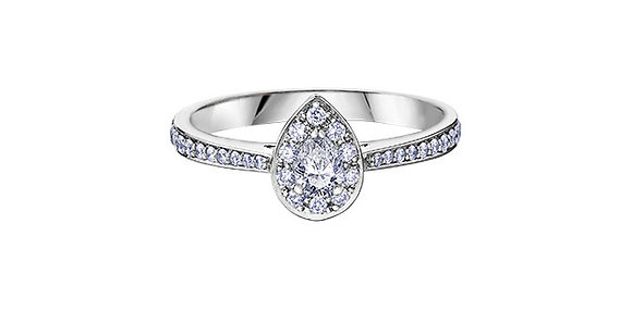 Pear Cut Diamond Ring with Halo