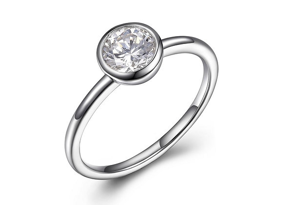 Round Bezel Set Cubic Zirconia Ring
