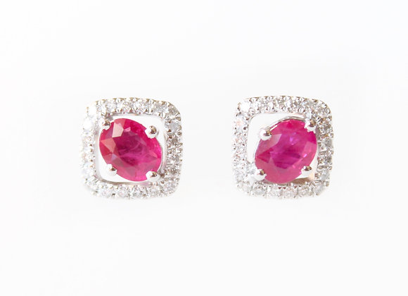 Oval Ruby Studs With Diamond Cushion Halo