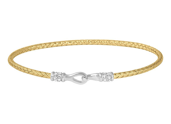 Yellow Gold Hook Clasp Woven Bangle