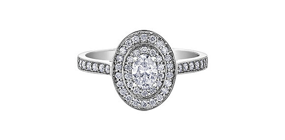 Double Halo Oval Diamond Ring
