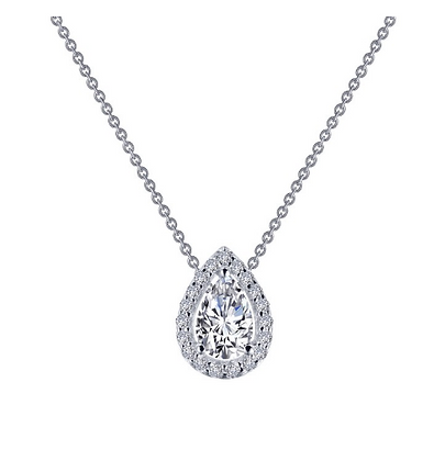 Silver Pear Simulated Diamond Pendant With Halo