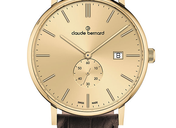 Gold Tone & Brown Leather Watch by Claude Bernard