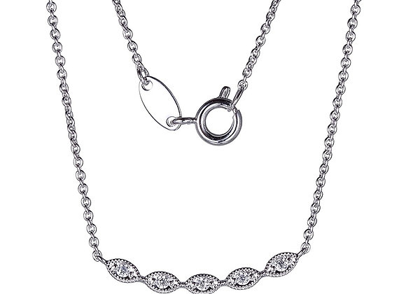 Silver Marquise Style Bar Necklace