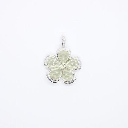 Lemon Quartz & Diamond Flower Pendant
