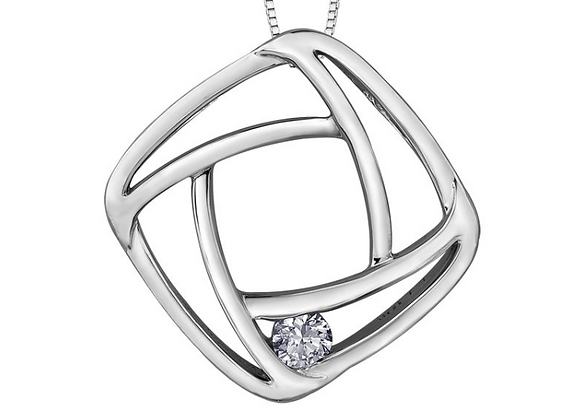 Square Pendant with Canadian Diamond Accent