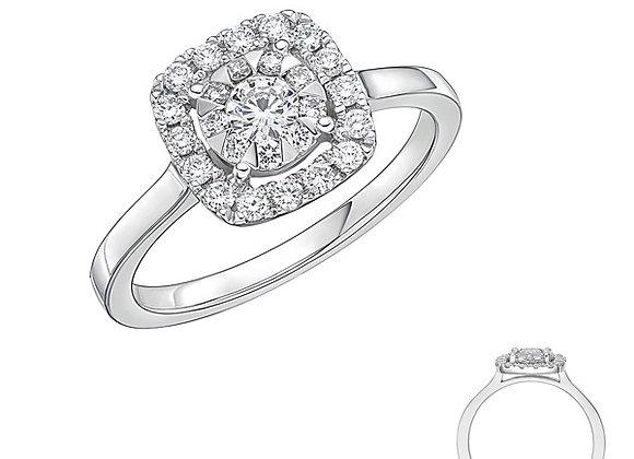 Round Bouquet Diamond Cushion Halo Ring