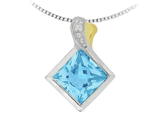 Princess Cut Aquamarine Pendant