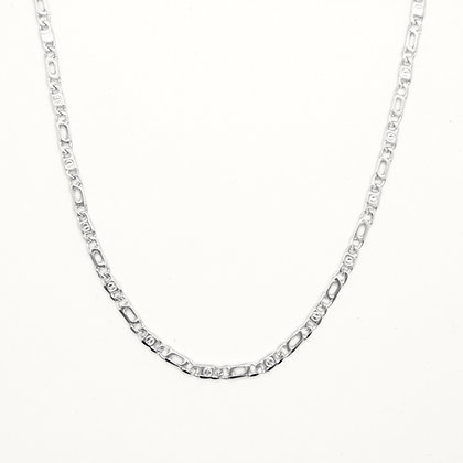 """White Gold Fancy Figaro Link Chain (23"""")"""
