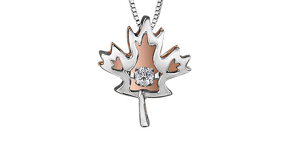 Silver & Rose Gold Maple Leaf Canadian Diamond Pendant