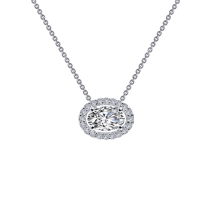 Silver Oval Simulated Diamond Pendant With Halo