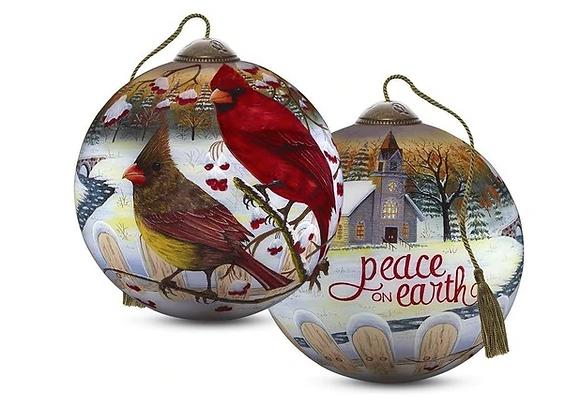 """White Crimson Morning"" Cardinal Ornament"