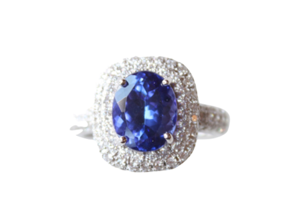 Oval Tanzanite Ring With Double Diamond Halo