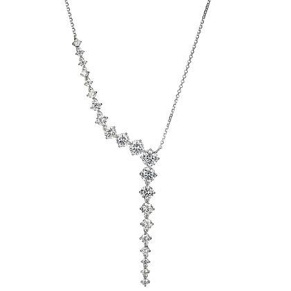 Silver Cubic Zirconia Cascading Necklace