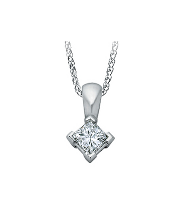 Princess Cut Solitaire Canadian Diamond Pendant (0.13 carat)