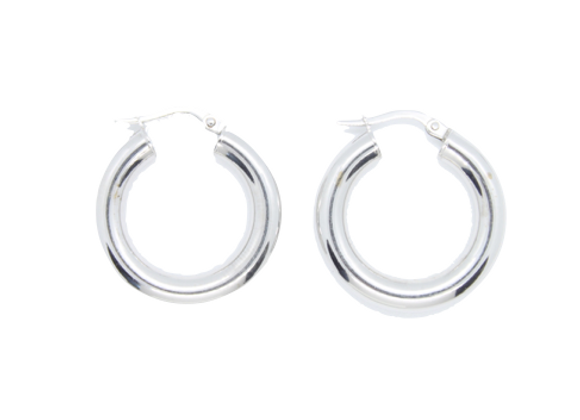 White Gold Smooth Hoops