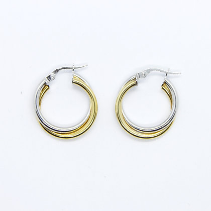 Two Tone Round Double Hoop Earrings (20mm)