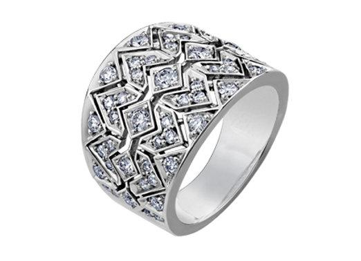 Zig Zag Cluster Diamond Ring