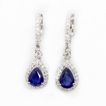 Pear Shapphire & Diamond Halo Drop Earrings