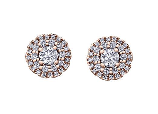 Double Halo Rose Gold Diamond Studs