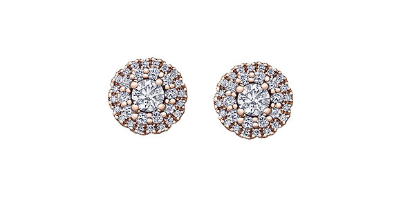 Double Halo Rose Gold Diamond Studs