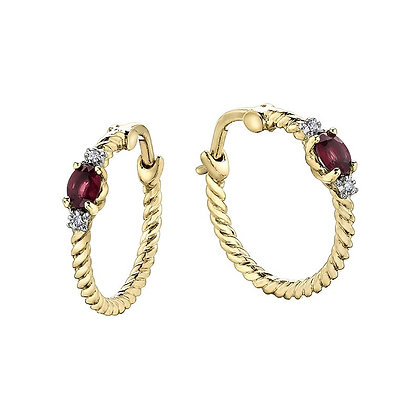 Ruby & Diamond Gold Hoops