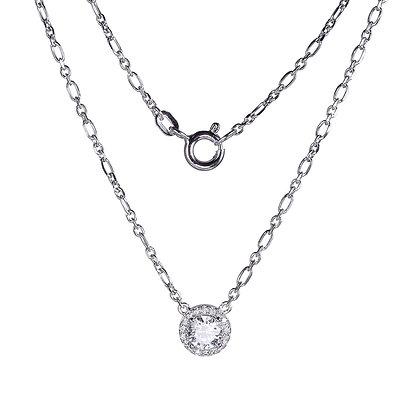 Silver Round Halo Cubic Zirconia Necklace