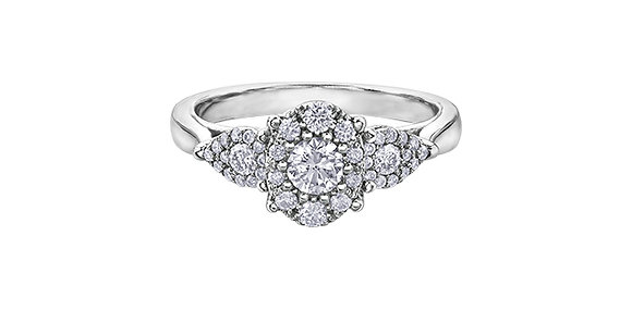 Trinity Diamond Cluster and Pear Accented Engagement Ring