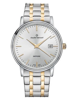 Silver and Yellow Gold Tone Metal Watch by Claude Bernard