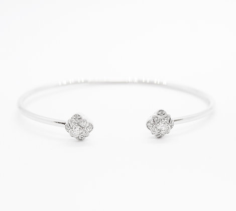 Open Diamond Bangle With Decorative Detailing