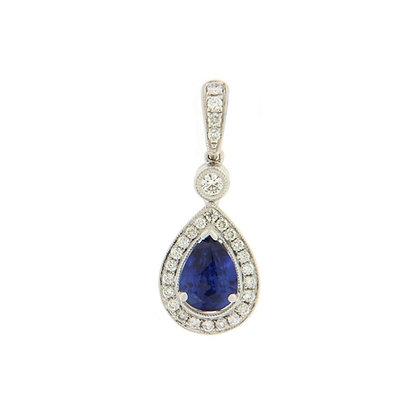 Pear Cut Sapphire Pendant With Diamond Halo