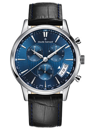 Navy Leather Strap Watch by Claude Bernard