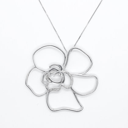 Silver Flower Pendant With Diamonds