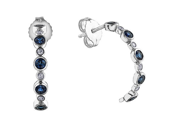 Sapphire & Diamond Half Hoops