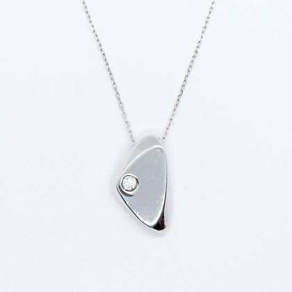 Silver Pendant With Round Diamond Accent
