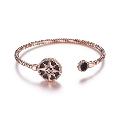 Rose Gold Bracelet With Black Compass Accent