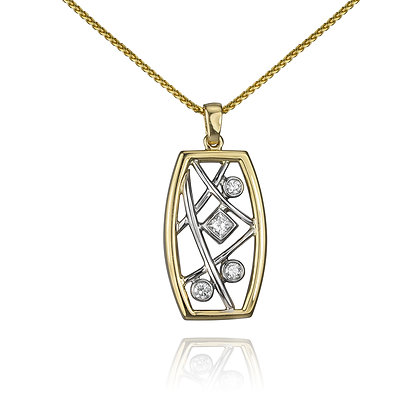 Two Tone Gold Round & Square Diamond Pendant