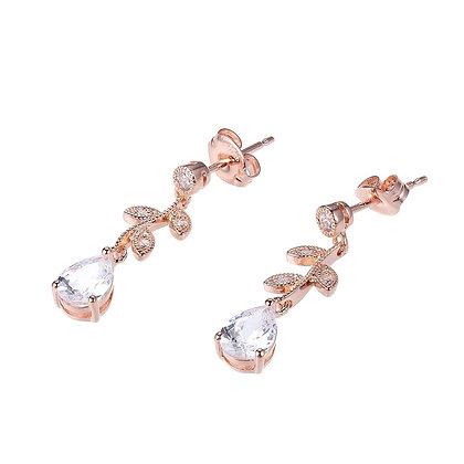 Rose Leaf CZ Drop Earrings