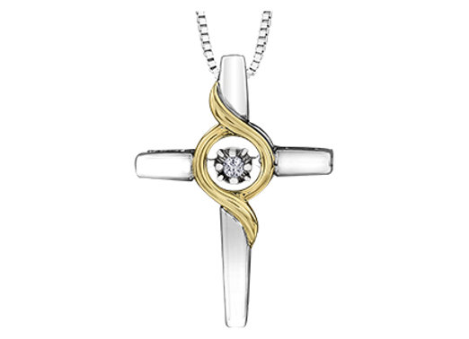 Silver & Yellow Gold Cross Canadian Diamond Pendant